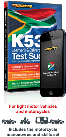 Topscore k53 Learner's & Driver's Test Success interactive CD-ROM packaging and mobile app